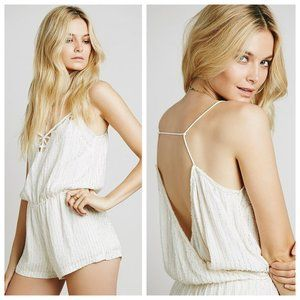 NWT SAYLOR Shelby White Beaded Sequin Romper
